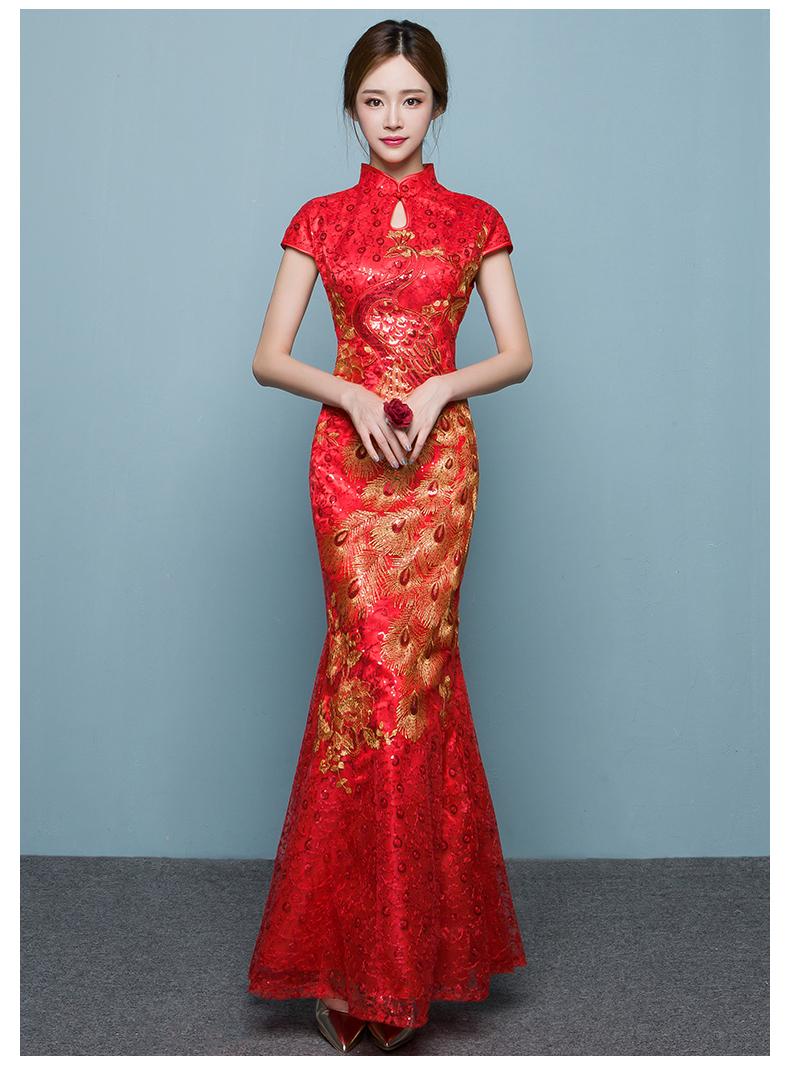 中国风鱼尾中式礼服,红色蕾丝绣花晚礼服