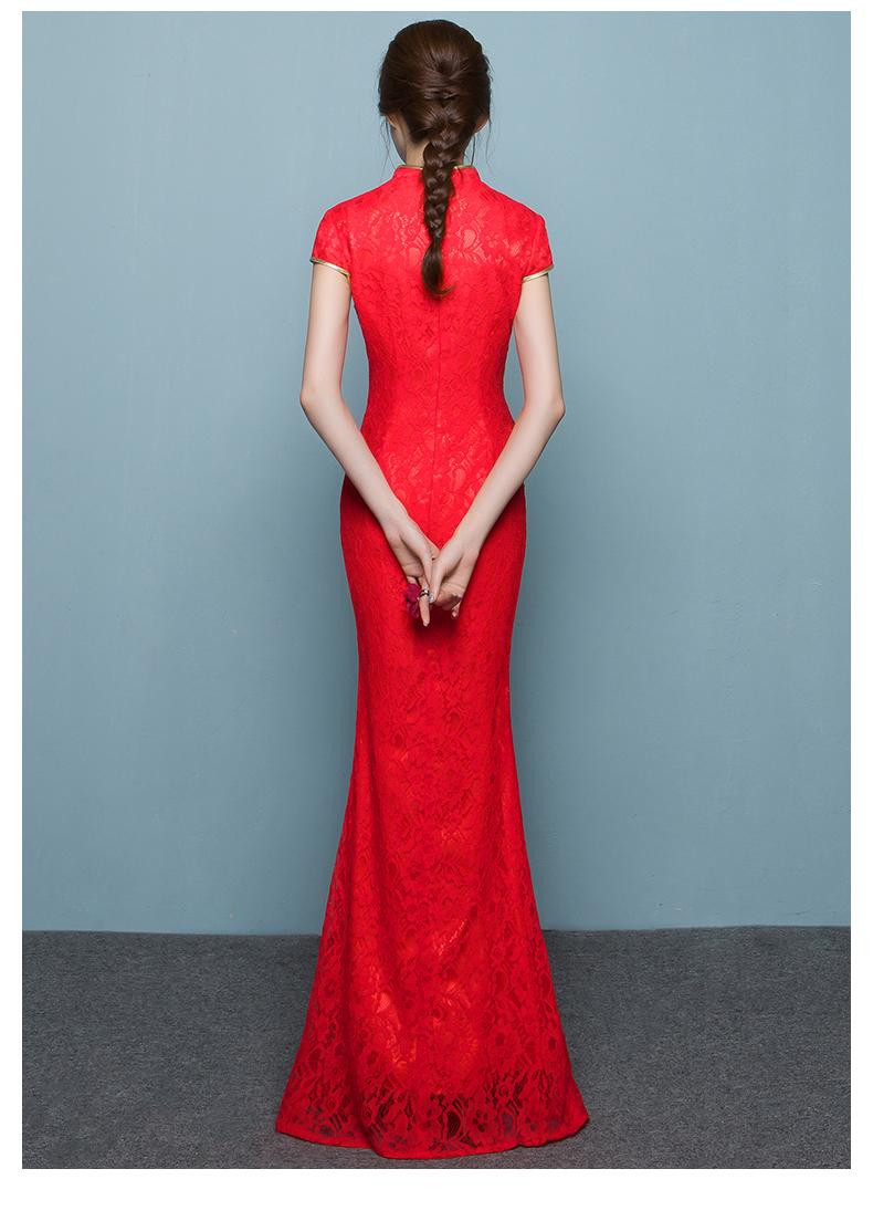 中国风鱼尾中式礼服,孔雀绣花晚礼服
