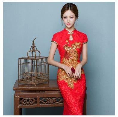 中国风鱼尾中式礼服,孔雀绣花