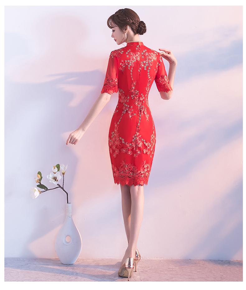 典雅复古唯美中式礼服,短款奢华中式绣花旗袍