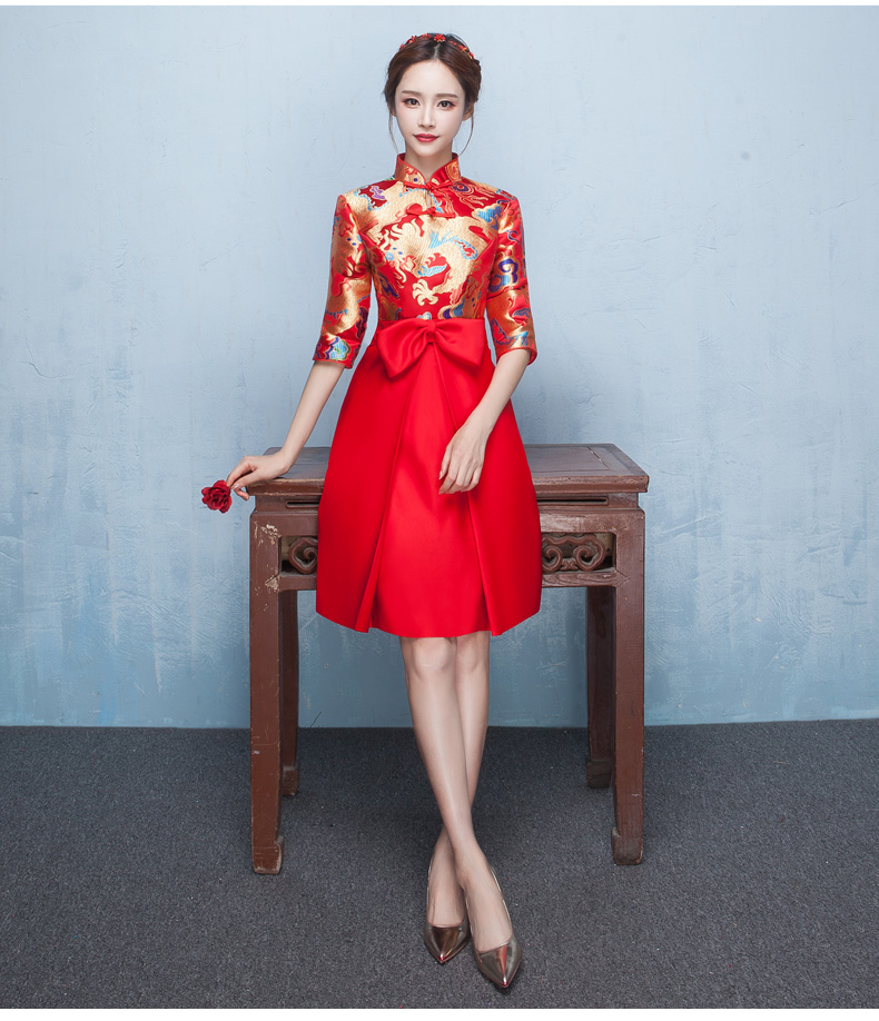 时尚典雅唯美中式礼服,短款奢华绣花礼服