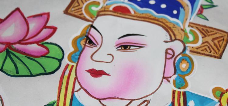 绵竹木板年画手绘文武状元门神