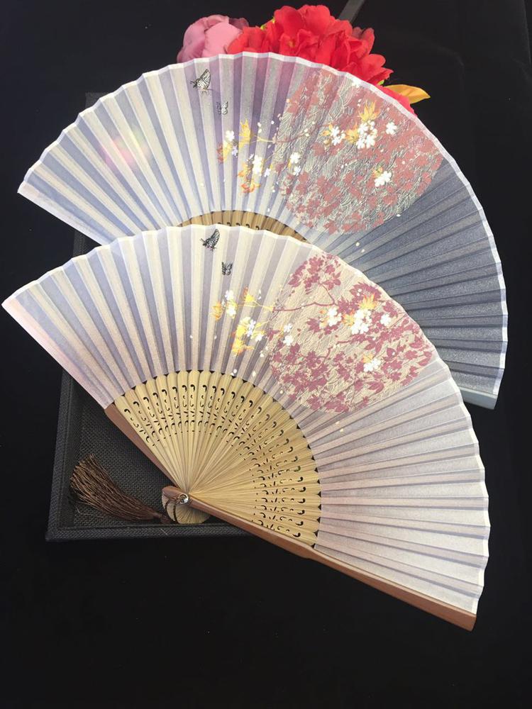 古典中国风烤漆边真丝樱花竹折