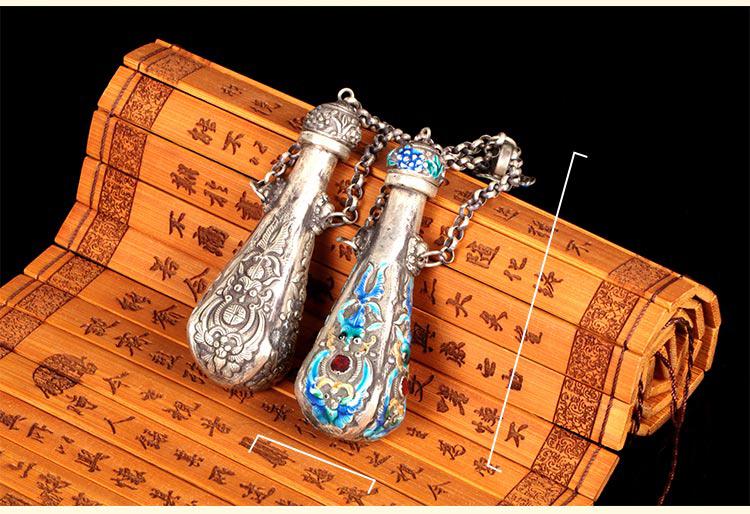 特色传统925银水滴景泰蓝吊坠鼻烟壶