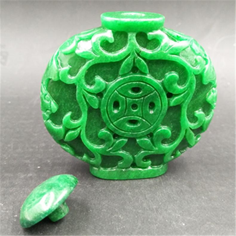 满绿翠色干青玉石双面雕刻福在