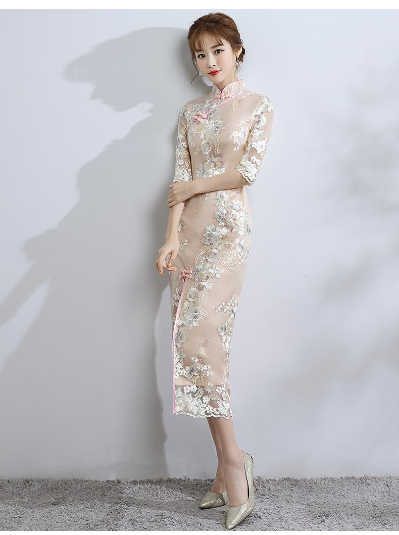 小清新蕾丝旗袍,改良时尚鱼尾旗袍裙