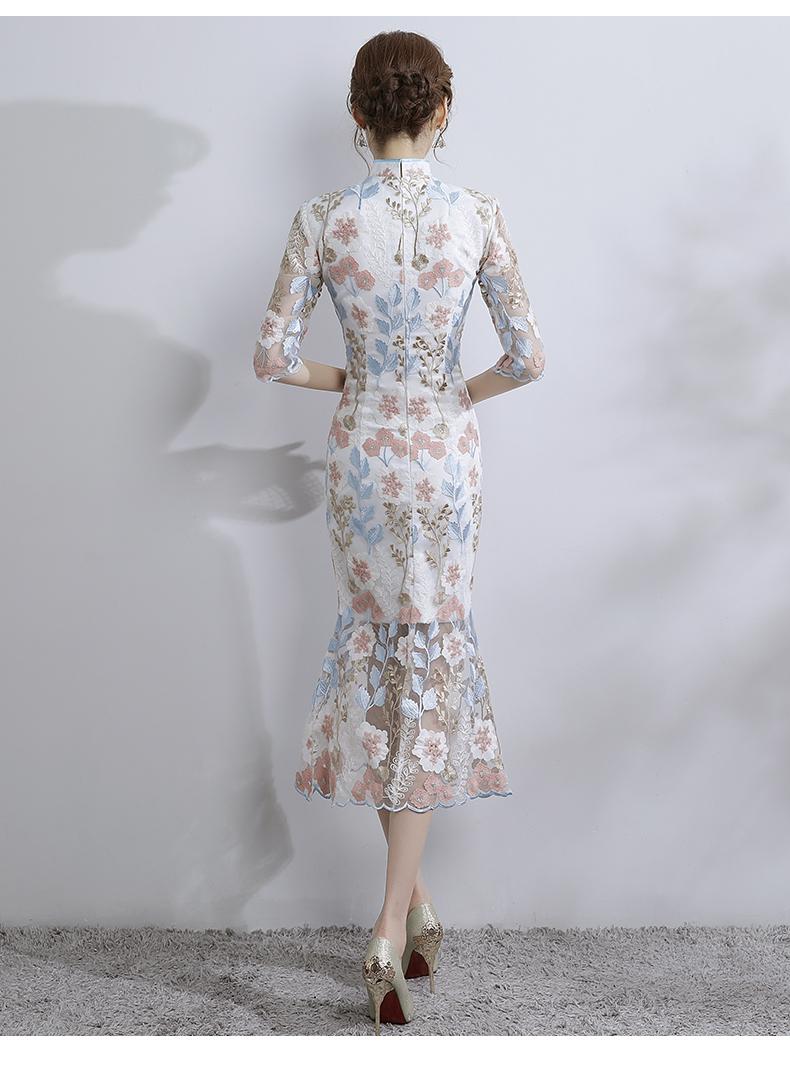 时尚气质淑女旗袍,改良蕾丝鱼尾旗袍裙