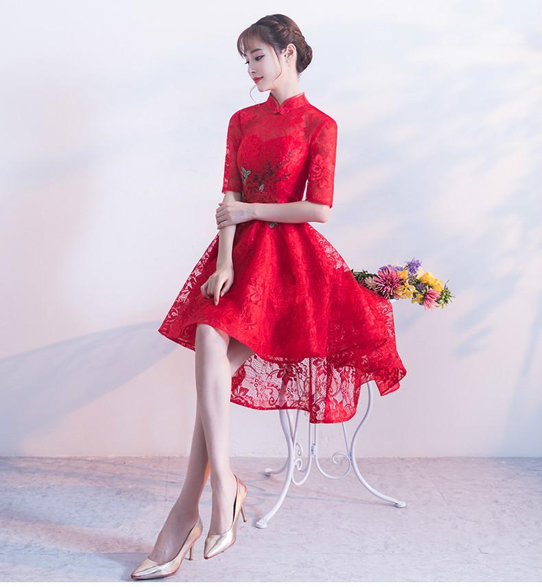 时尚蕾丝中式礼服,前长后短红色晚礼服