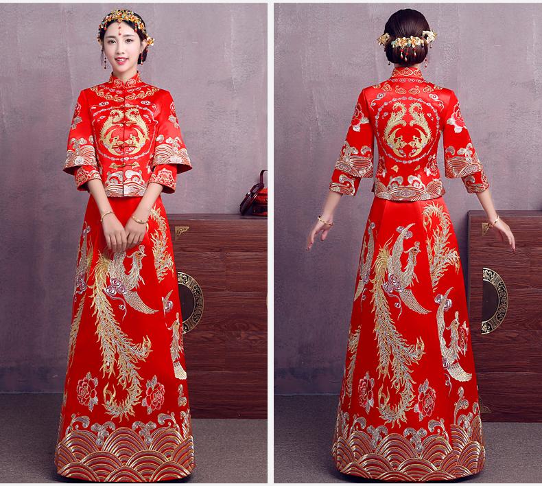 时尚中国风中式礼服,精美奢华刺绣新娘礼服