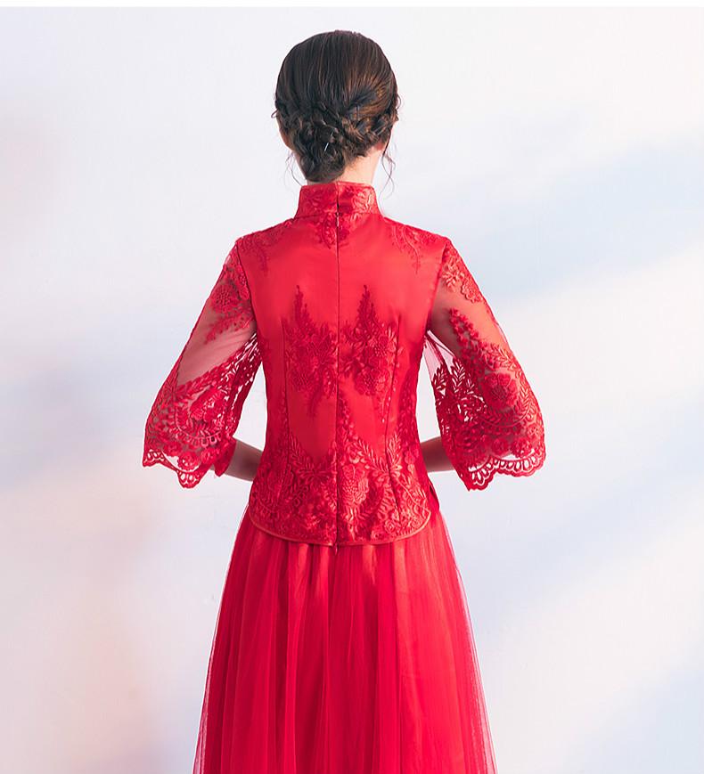 蕾丝绣花中式礼服,秀禾服红色婚纱新娘礼服