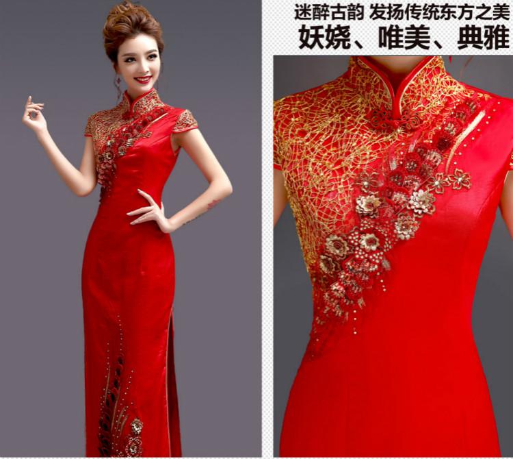 天使嫁衣中式礼服,金丝亮片立体刺绣旗袍