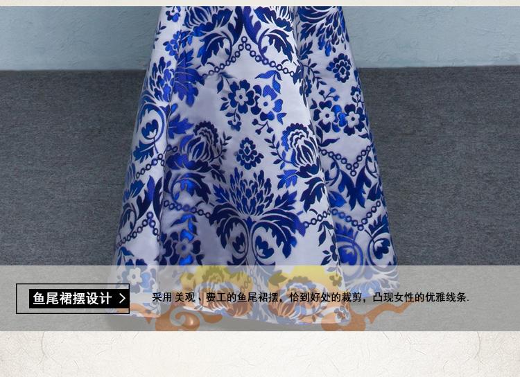 中式青花瓷旗袍礼服,时尚复古旗袍裙