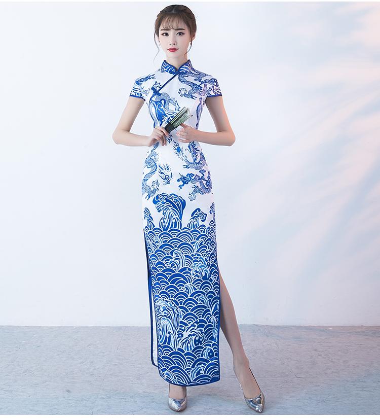 时尚青花瓷旗袍,复古优雅旗袍裙