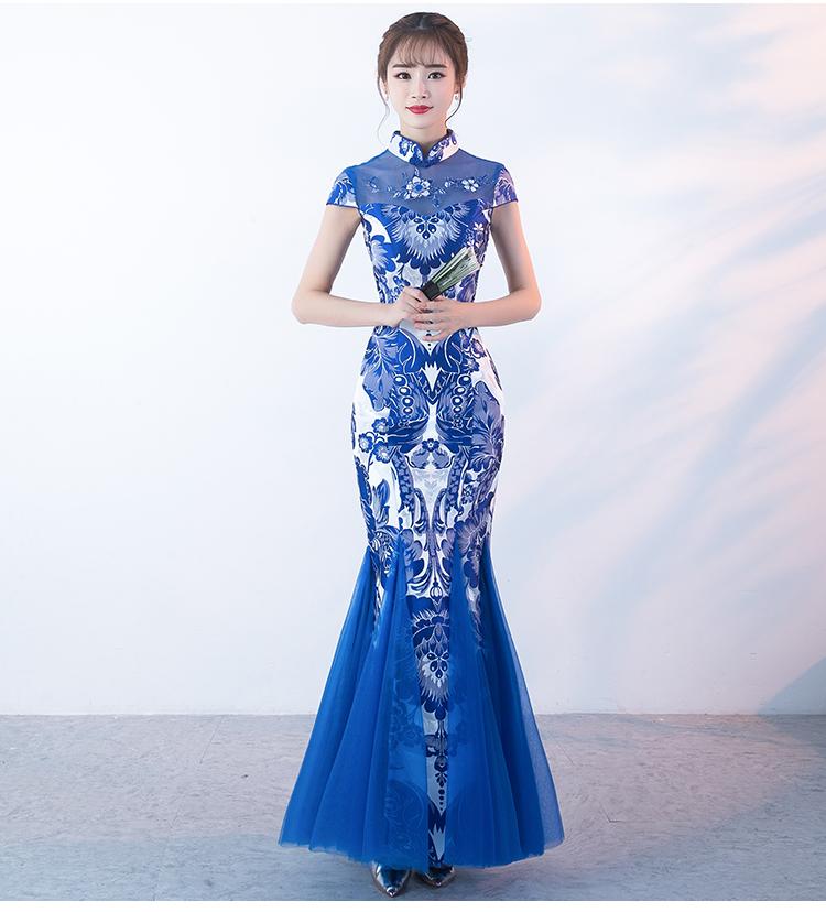 中国风青花瓷旗袍,复古优雅鱼尾旗袍裙