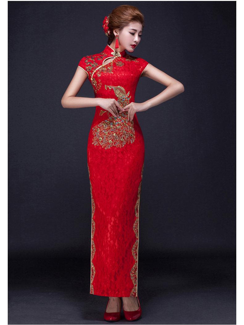 中国风凤凰刺绣旗袍,复古红色斜襟开叉旗袍裙