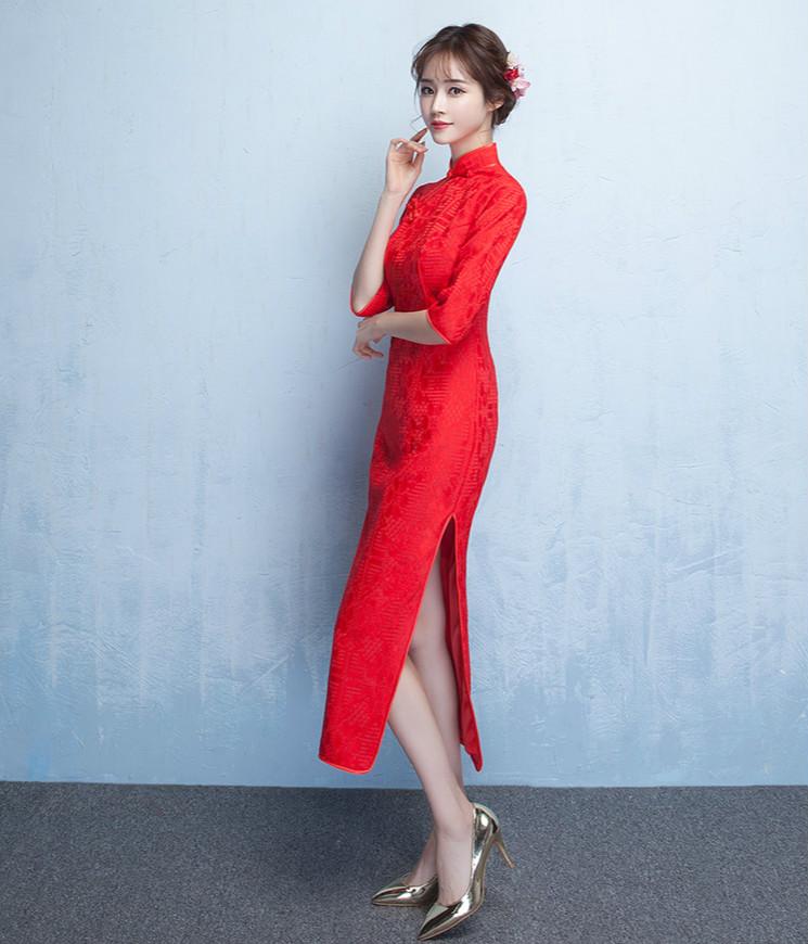 简约时尚中袖旗袍,复古红色旗袍裙