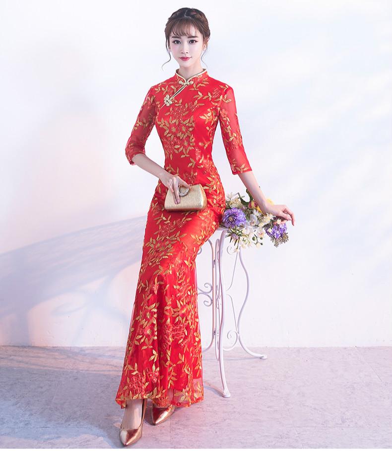 金丝叶子绣花旗袍,复古红色旗袍裙