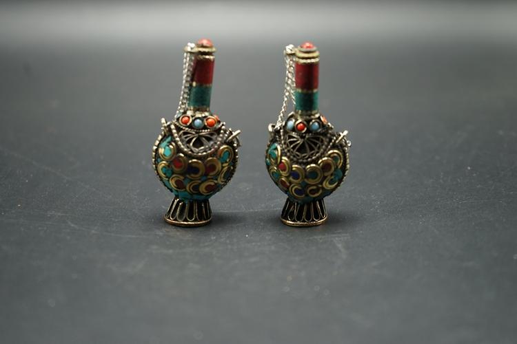 西藏尼泊尔民族风手工镶嵌松石鼻烟壶