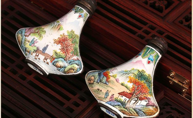 中国风传统手工艺铜胎珐琅彩鼻烟壶
