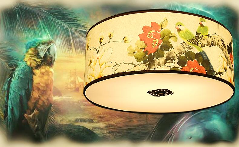 中国风圆形国画花鸟元素中式吸