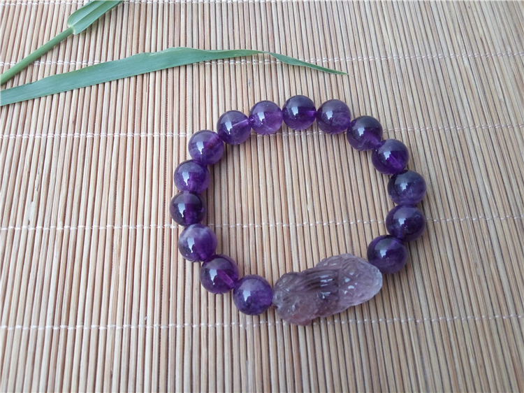 天然紫水晶貔貅手串