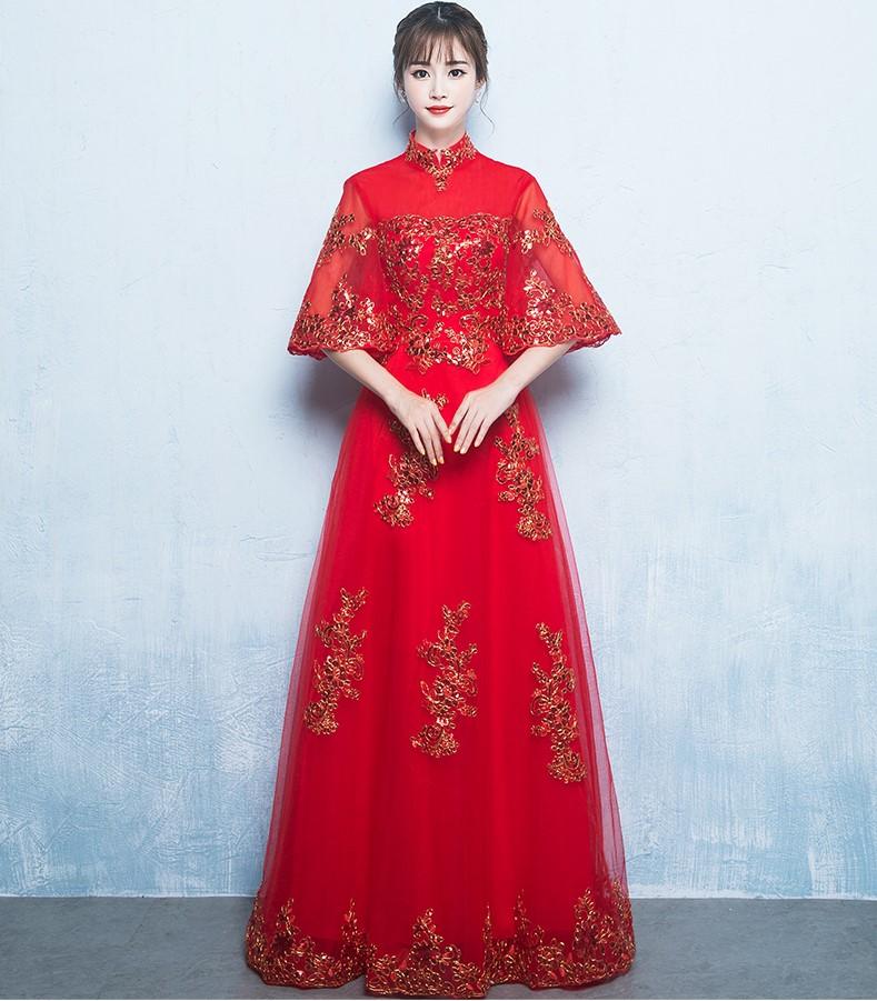 金线刺绣中式礼服,唯美浪漫晚礼服