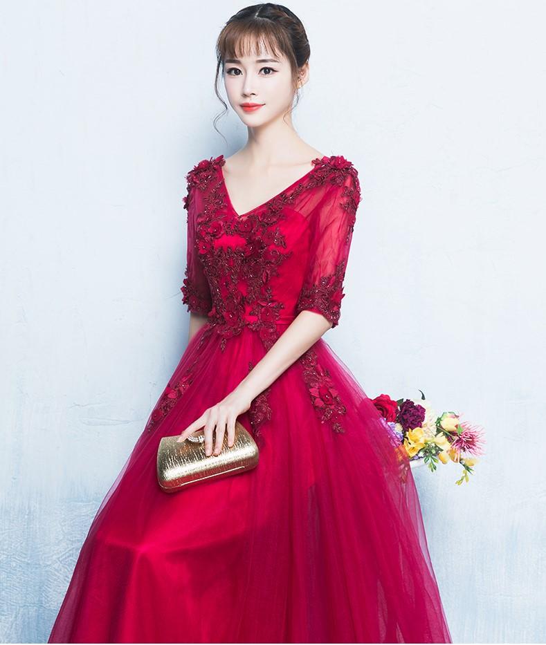 精美V领中式礼服,气质长裙晚礼服