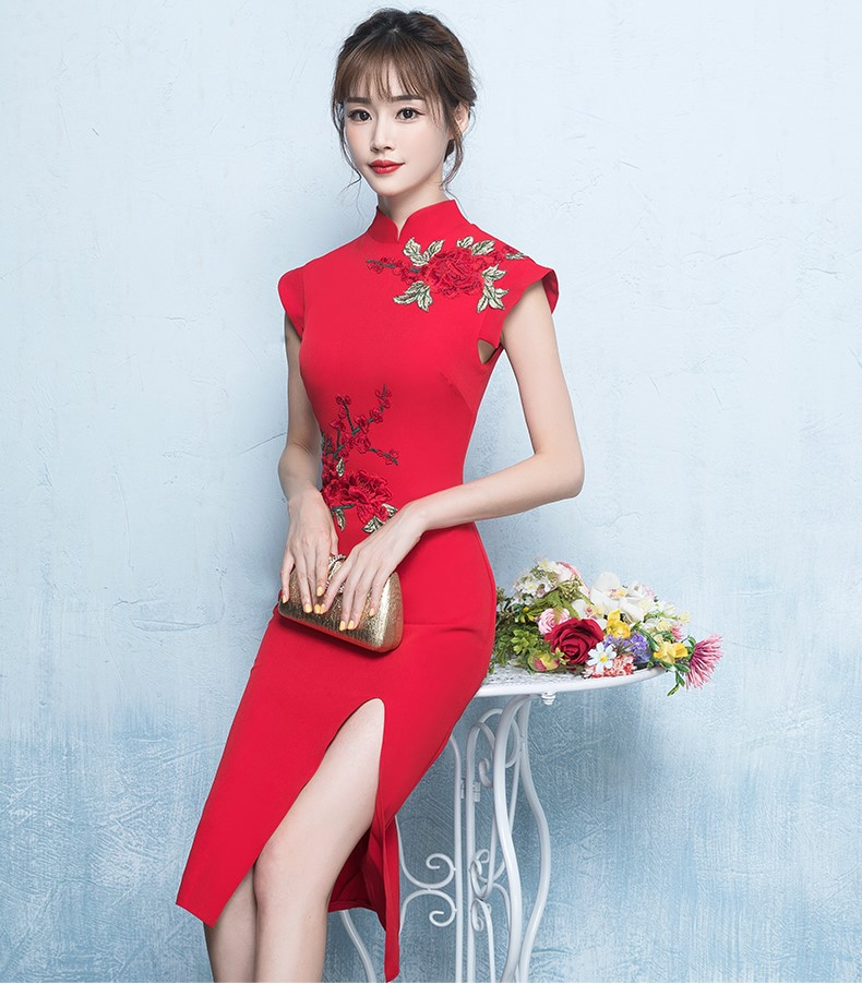 清新复古中式礼服,气质绣花短款晚礼服