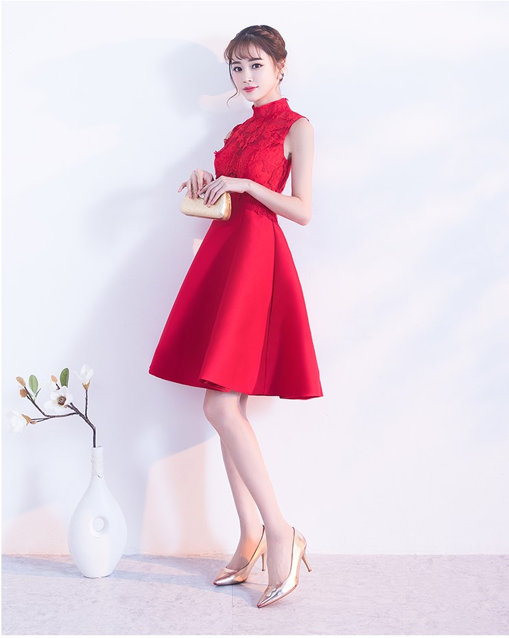 时尚无袖中式礼服,蕾丝绣花短款晚礼服