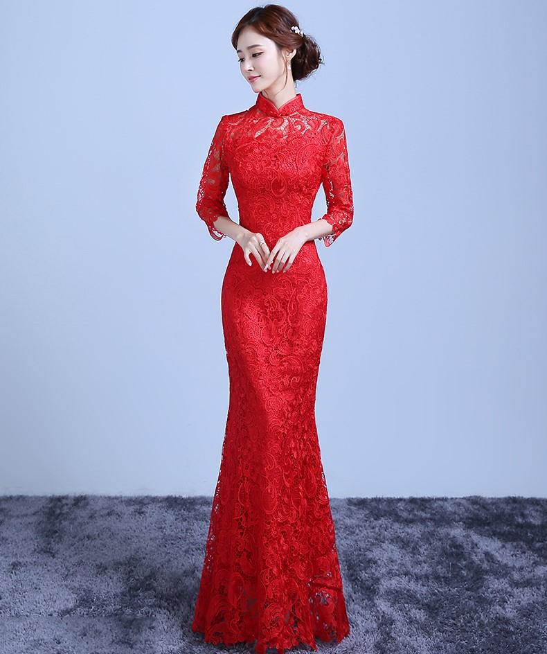 鱼尾蕾丝裙摆中式礼服,复古气质晚礼服