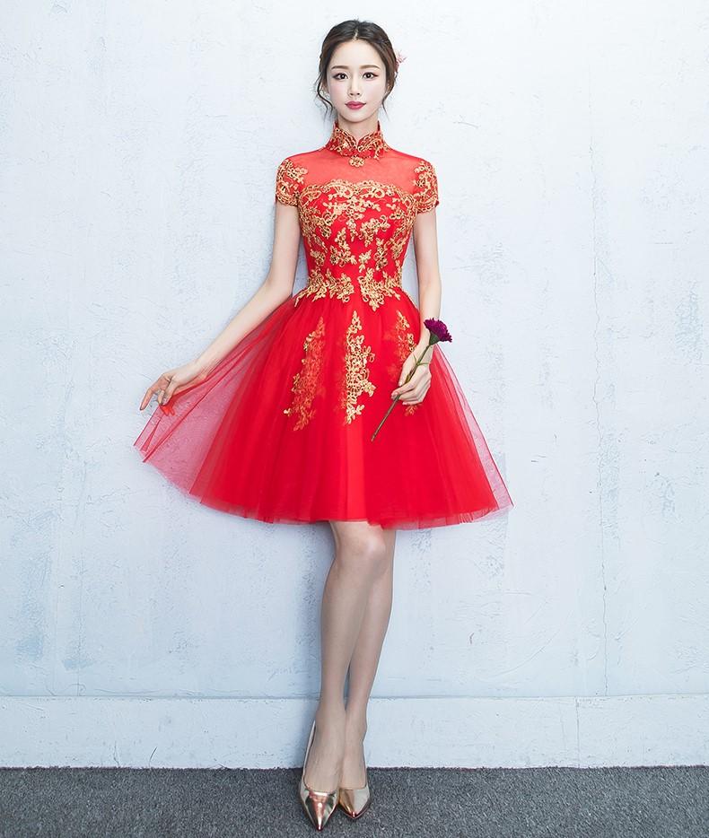 蕾丝复古立领中式礼服,时尚优雅网纱晚礼服