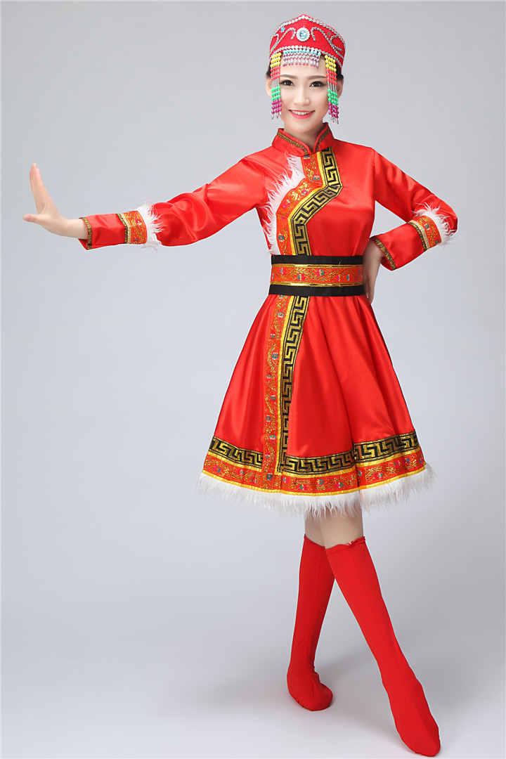 古装图片女装汉服_简约大方的蒙古族女装服饰,少数民族服装- 中国风