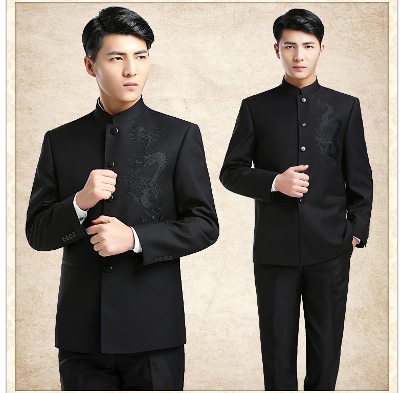 时尚中国风龙图案男青年中山装