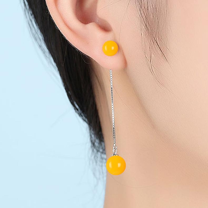 琥珀蜜蜡小清新耳坠耳钉耳饰品