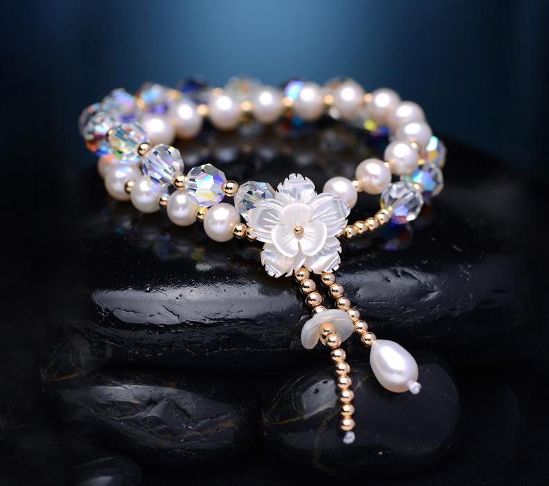 韩版简约个性天然珍珠水晶手链