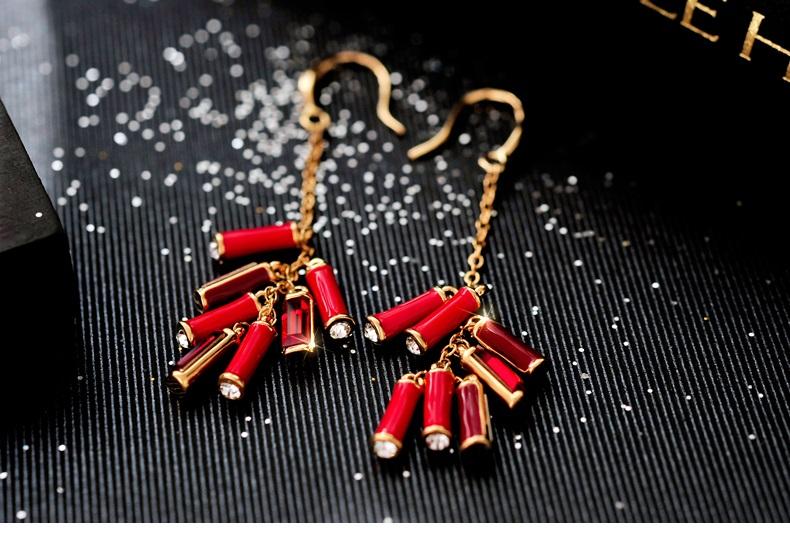 中国风施华洛世奇元素水晶春竹耳环