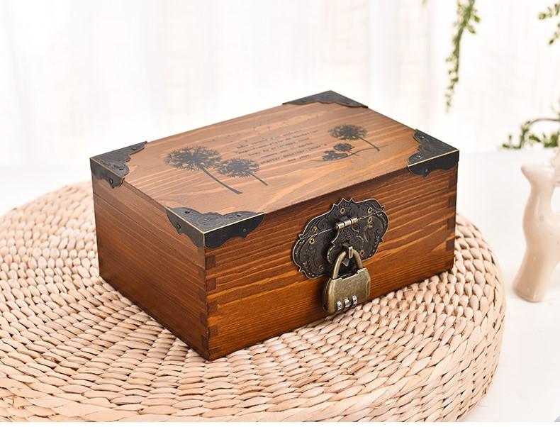 复古带锁收纳盒实木木箱子