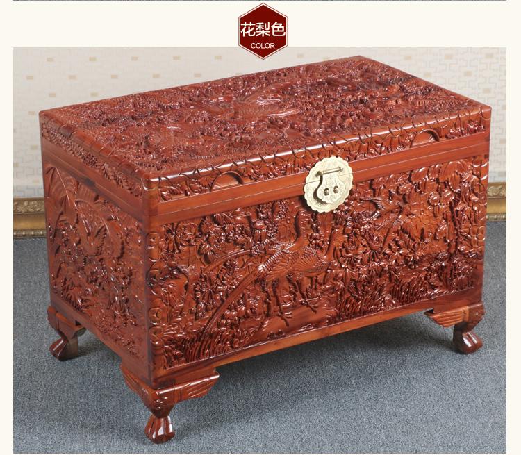 全香樟木箱子,实木中式仿古雕木箱子