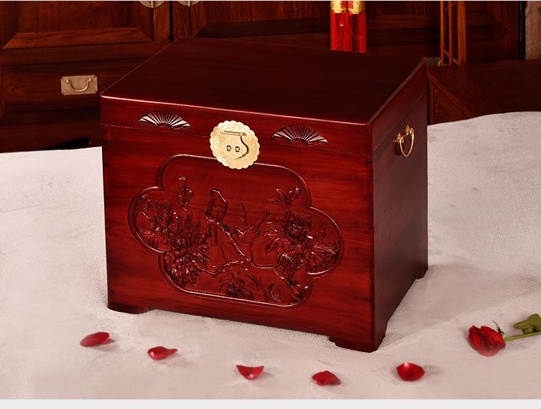 三款精美雕花复古樟木箱木箱子