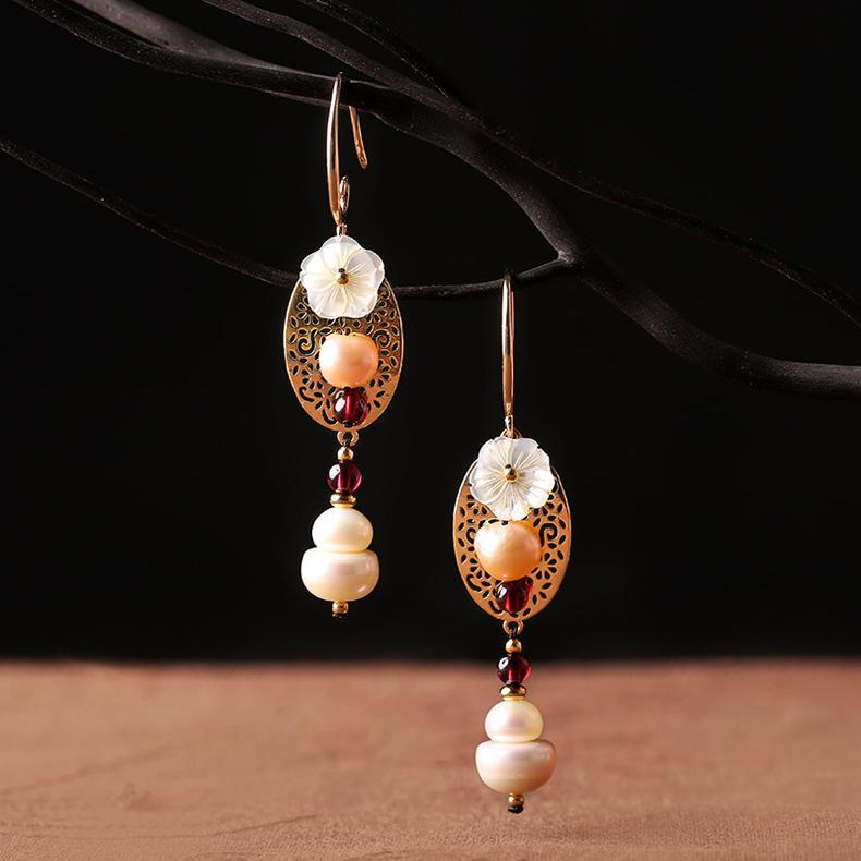 气质复古的民族风长款耳环时尚珍珠吊坠