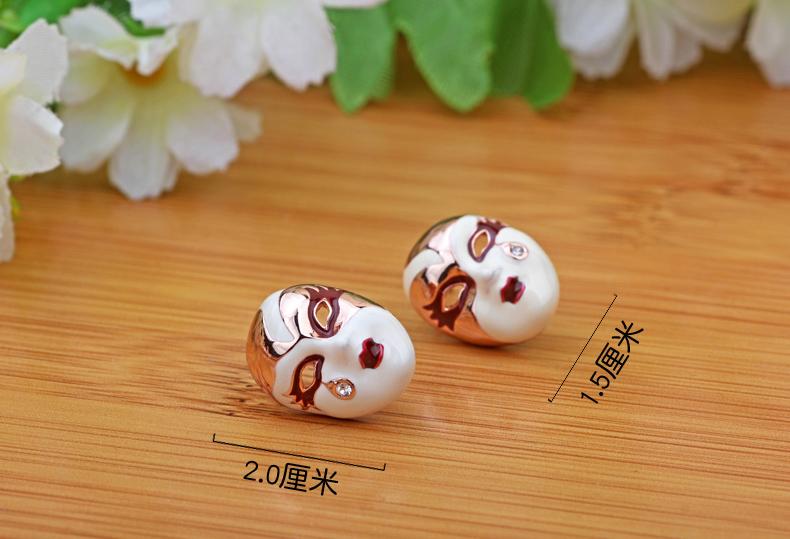 优雅的中国风京剧脸谱耳环