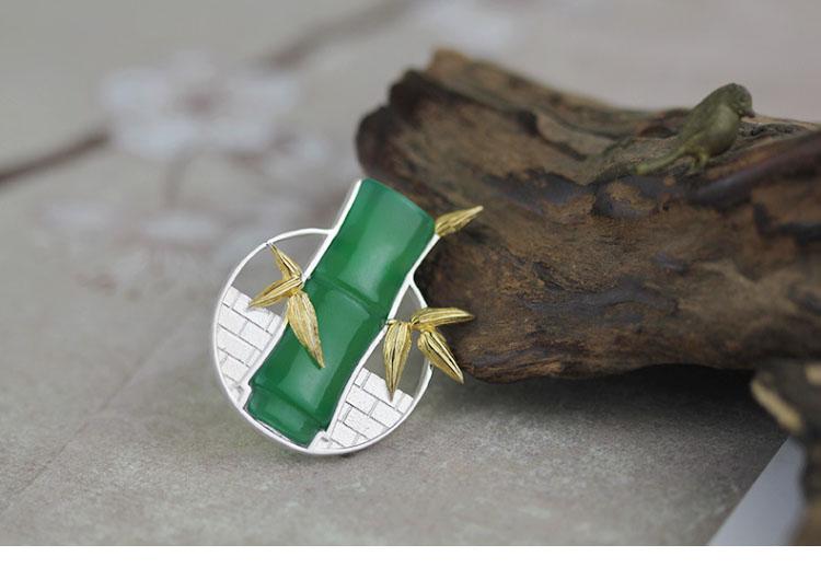 中国风古典镶玉髓竹子纯银胸针