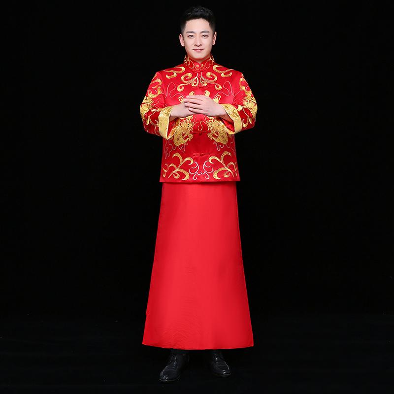中式婚礼之新娘发型_双龙刺绣男士中式礼服,时尚中国风新郎礼服- 中国风
