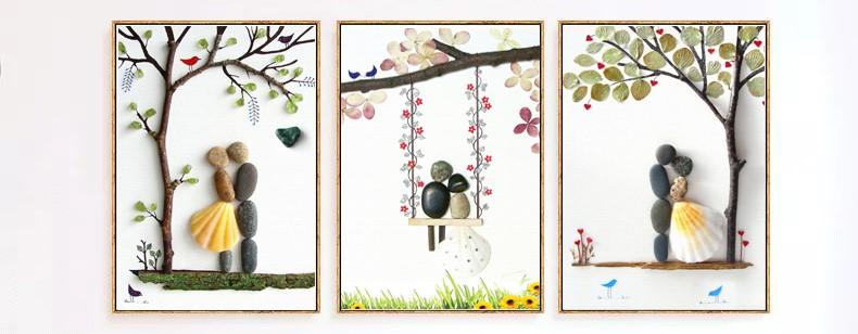 创意小清新鹅卵石装饰画
