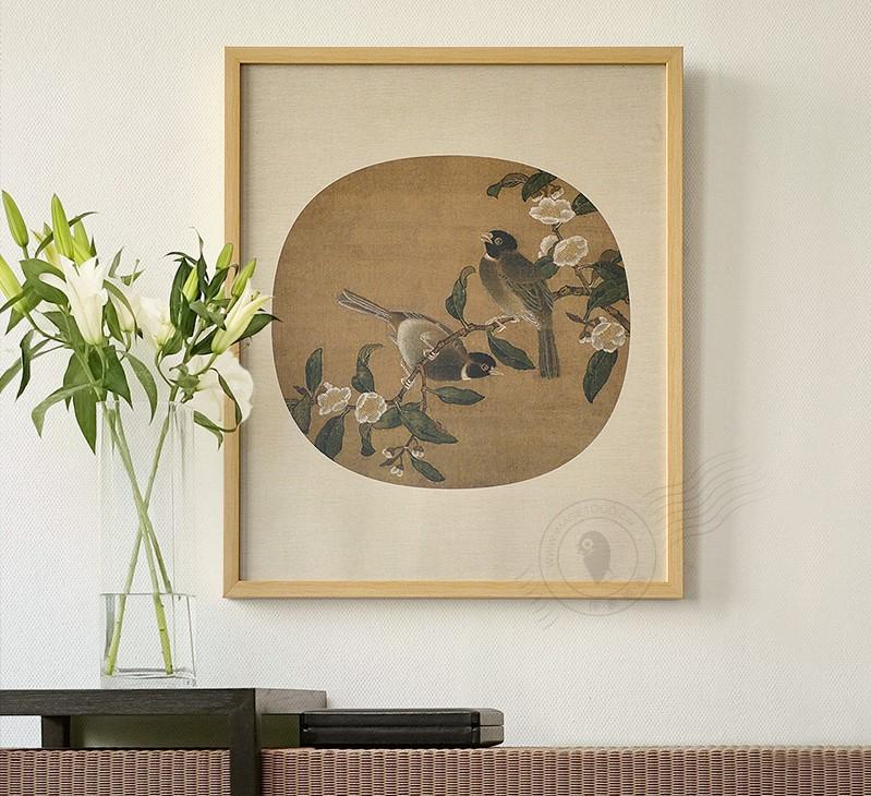 新中式花卉团扇装饰画
