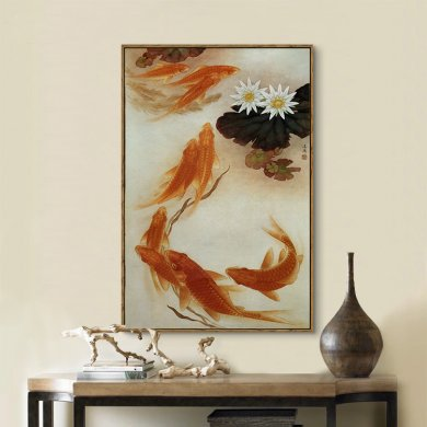 中式风格九鱼图风水挂画装饰画