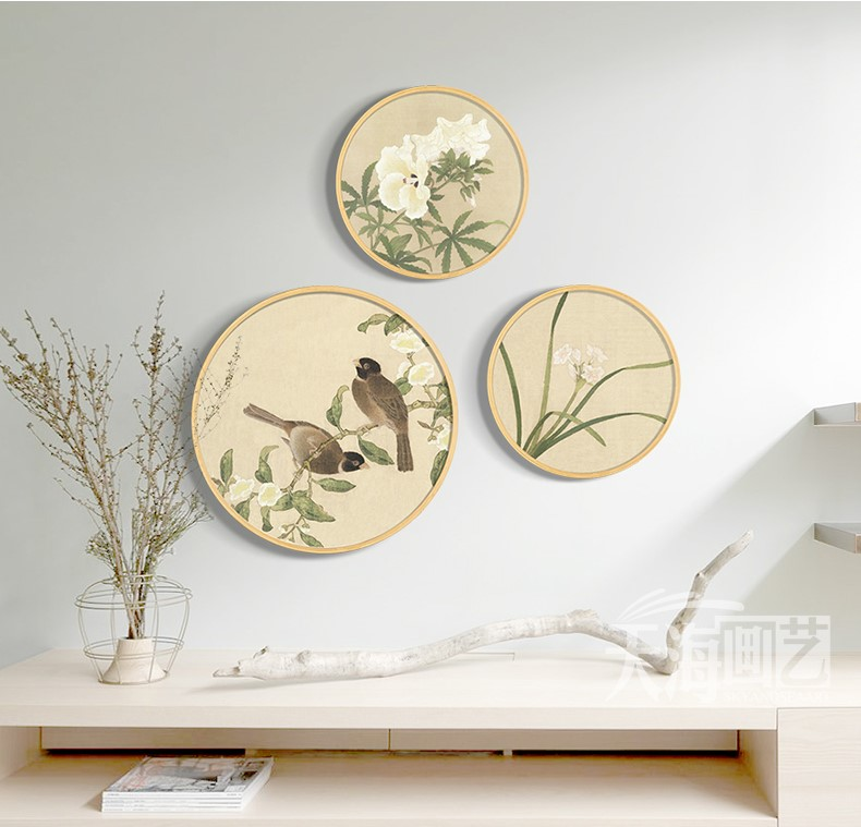 中国风圆形花鸟国画装饰画