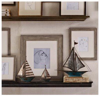 古典铁艺帆船摆件,做旧铁艺品