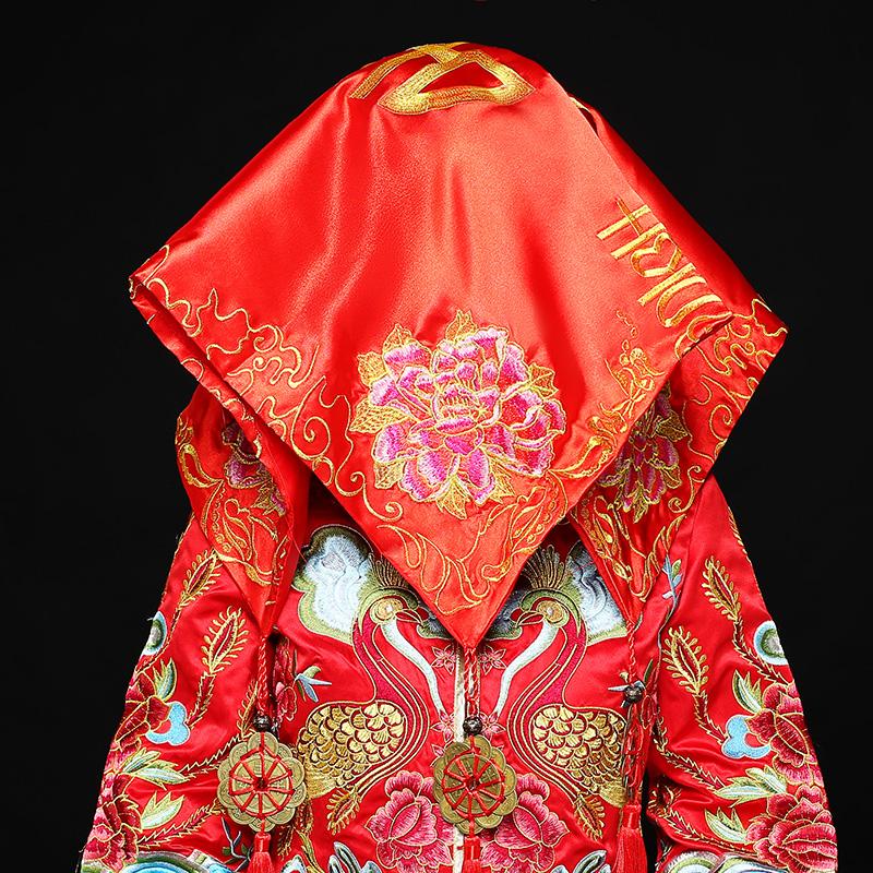 五款精美的新娘结婚红盖头,中式刺绣喜帕盖头