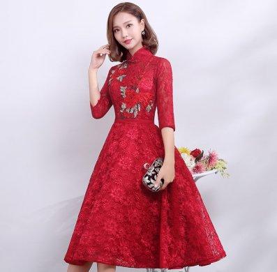 复古时尚中式礼服,中国风红色